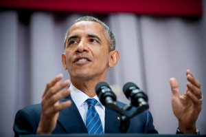 epa04873202 US President Barack Obama delivers a speech on the nuclear deal with Iran, at American University's School of International Service, in Washington DC, USA, 05 August 2015. Obama urged Americans to accept a controversial nuclear deal with Iran in spite of criticism from Republican lawmakers. The speech evoked late US President John F. Kennedy's 1963 USSR speech at American University during the height of the Cold War.  EPA/PETE MAROVICH / POOL ORG XMIT: MHR02