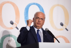 Palestinian Authority member, Saeb Erekat, speaks at the Haaretz and New Israel Fund conference in Roosevelt Hotel, NYC, on December 13, 2015. Photo by Amir Levy/Flash90 *** Local Caption *** ???? ?????? ???? ??? ??? ???? ????? ????? ?????? ????? ?????????