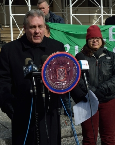 Press Conference held by Irish Queers re: St. Patricks Day Parade. Emmaia Gelman of Irish Queers, Council Members Danny Dromm and Rosie Mendes, Allen Roskoff of the Jim Owles Liberal Democratic Club and a representative of Manhattan Borough Pres. Gail Brewer. MATTHEW McMORROW of the Empire State Pride Agenda.